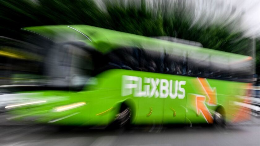 Flixbus bus launches data-driven bus service in US, Dresden, Germany - 16 May 2018