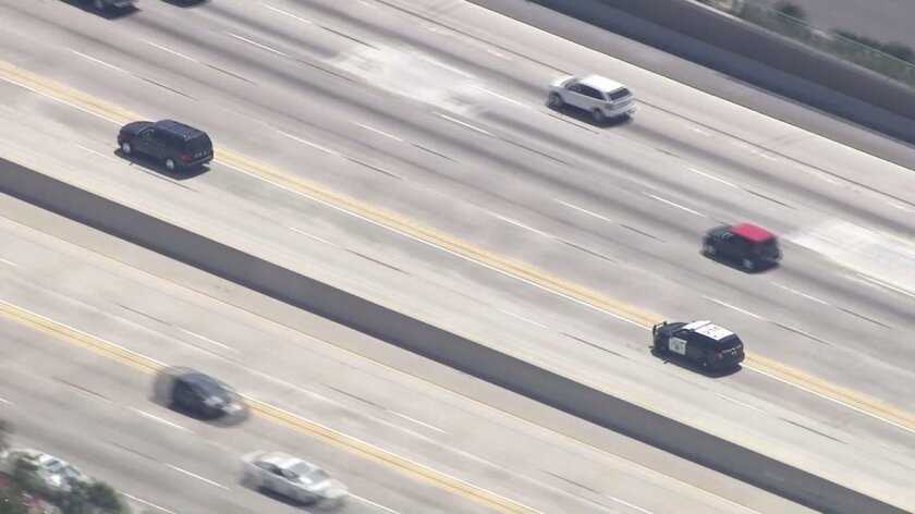 A driver was arrested Monday after leading officers on a pursuit through Los Angeles and Orange counties, authorities said.