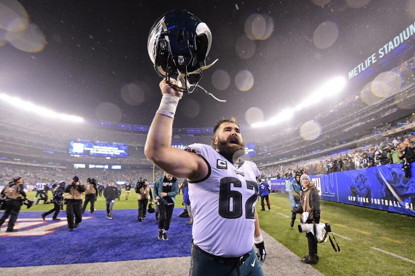 Philadelphia Eagles center Jason Kelce celebrates after a win over the New York Giants on Sunday.