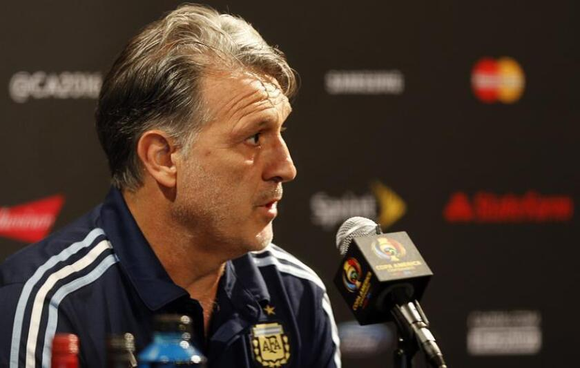 """Stock photo from June 25, 2016 that shows former Argentina national coach, Gerardo""""Tata"""" Martino, speaking at the MetLife stadium in New Jersey, USA. EPA-EFE/MAURICIO DUEÑAS CASTAÑEDA/FILE"""