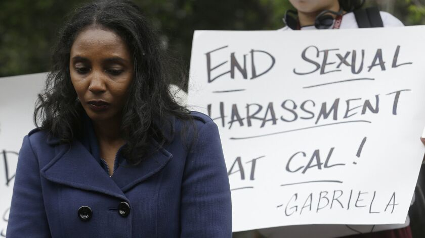Tyann Sorrell listens to speakers at a news conference on the University of California campus in Ber