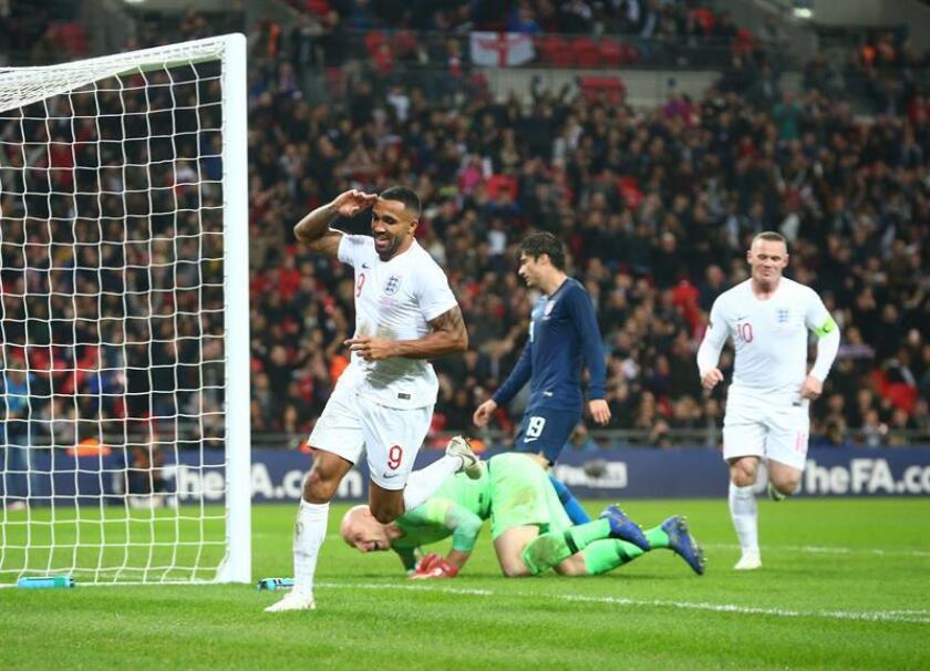 England's Callum Wilson celebrates his goal against the US in their friendly match at London's Wembley Stadium on Nov. 15, 2018. EFE-EPA/ Kieran Galvin