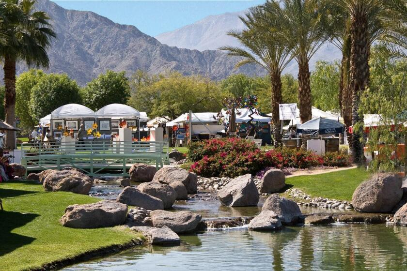 The festival bridge crosses a creek for the perfect backdrop to a four-day celebration of fine art for the La Quinta Arts Festival; March 1-4, 2018 at La Quinta Civic Center Campus. (760) 564-1244. lqaf.com