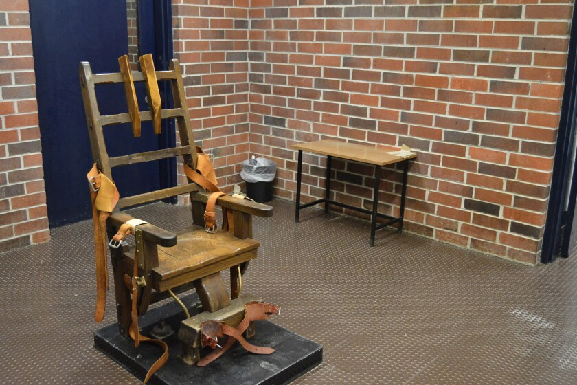 FILE - This March 2019, file photo, provided by the South Carolina Department of Corrections shows the state's electric chair in Columbia, S.C. Two South Carolina inmates scheduled to die want an appellate court to halt their deaths by electrocution. On Monday, June 14, 2021, Brad Sigmon and Freddie Owens filed a notice of appeal to the 4th Circuit Court of Appeals. (Kinard Lisbon/South Carolina Department of Corrections via AP, File)