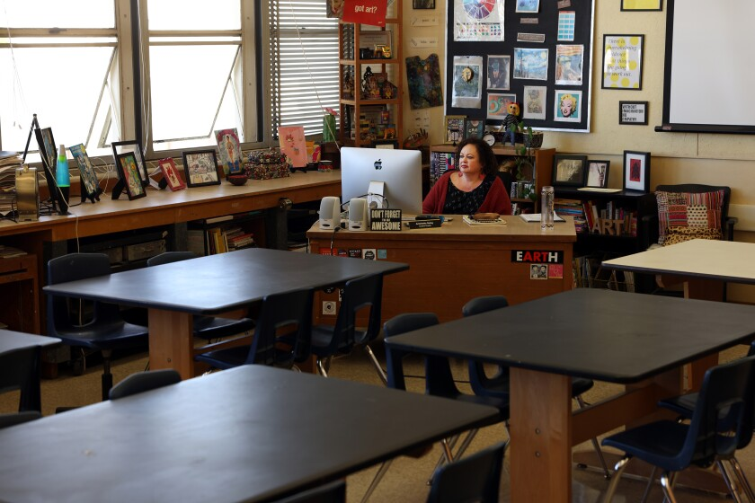 Antoinette Bailey leads a class via Zoom with her art students at Millikan High School in Long Beach on Feb. 19.