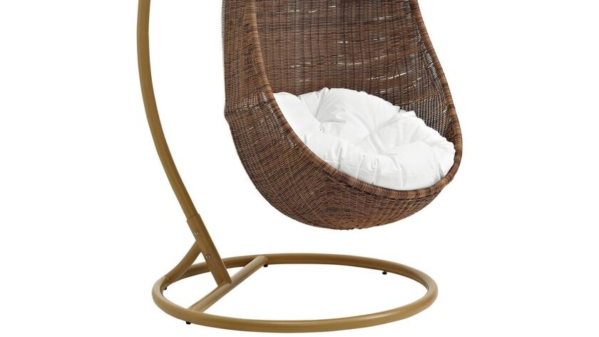 Bean outdoor patio wood swing, $1,099 at Target. Photography: Target.