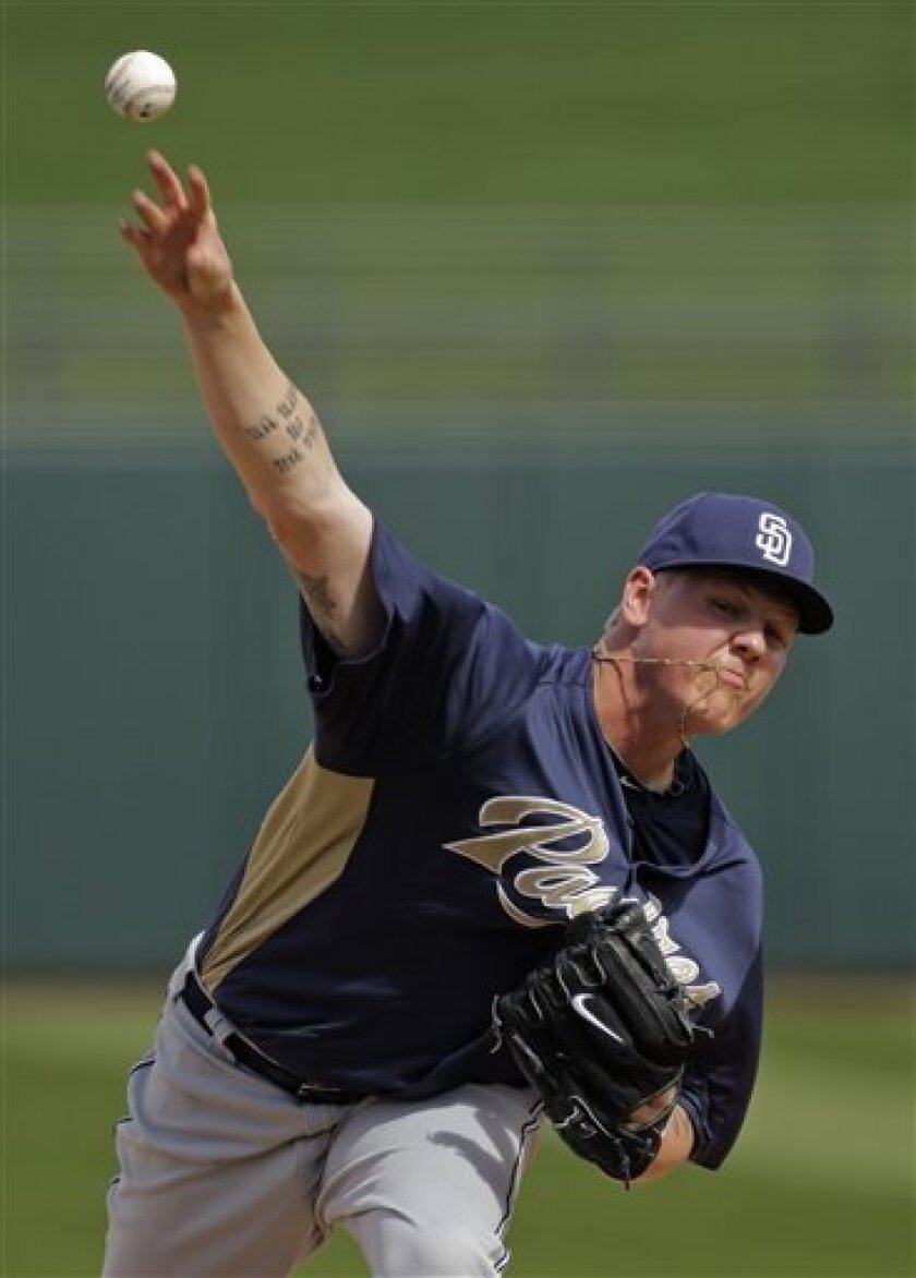 San Diego Padres pitcher Mat Latos throws during the first inning of a spring training baseball game against the Kansas City Royals, Tuesday, March 1, 2011 in Surprise, Ariz. (AP Photo/Charlie Riedel)