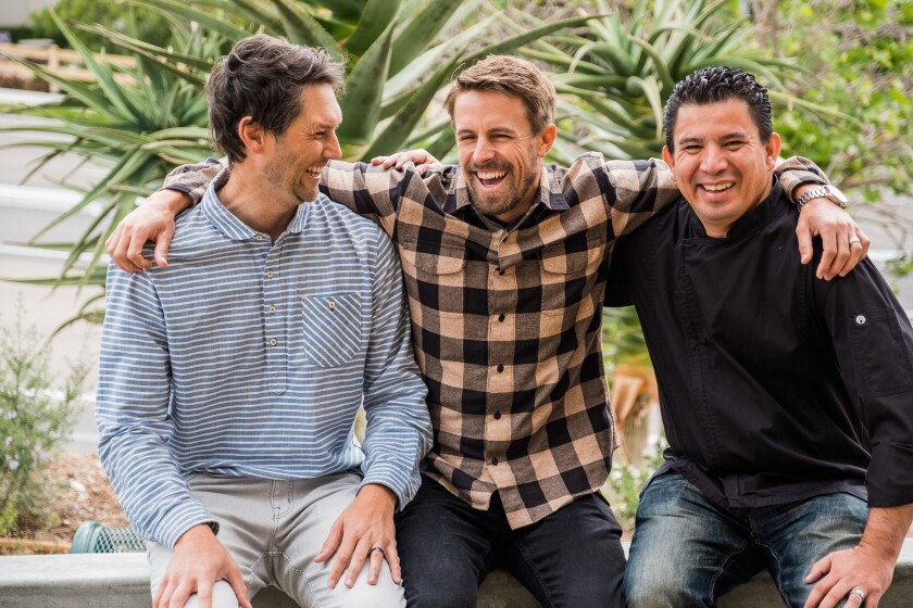 Casero Taqueria owners Craig Applegate, left, and Clayton Wheeler with chef Julio Castillo, right. The restaurant opens July 4 in the Square at Bressi Ranch center in Carlsbad.