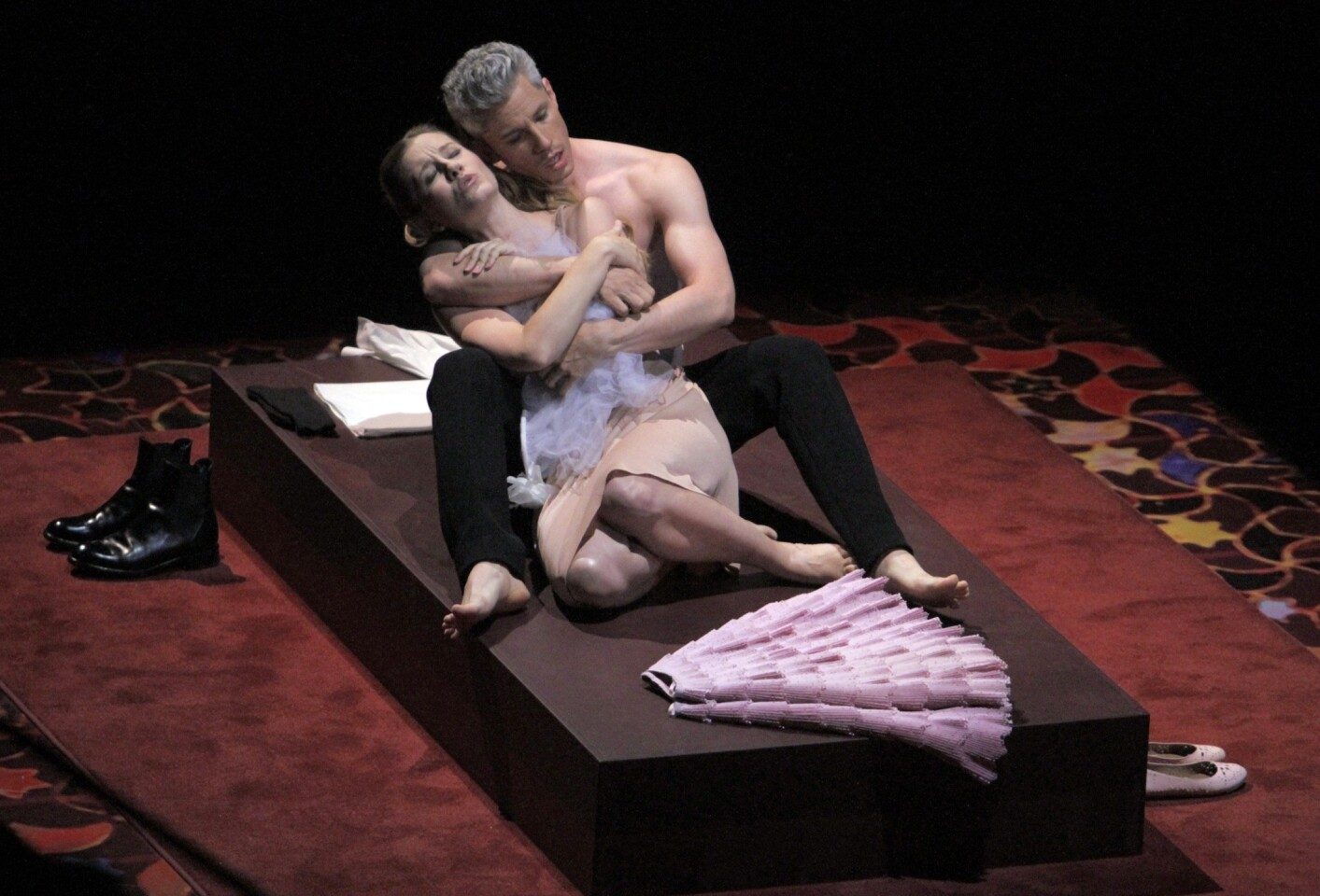 """Malin Christensson as Susanna and Edwin Crossley-Mercer as Figaro in opening night of L.A. Philharmonic's production of the opera """"Marriage of Figaro"""" at Walt Disney Concert Hall."""