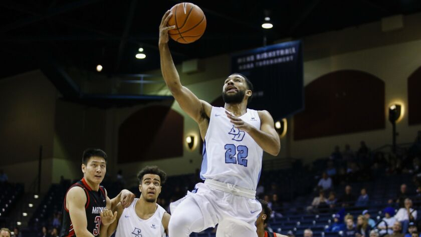 In addition to playing solid defense, USD's Isaiah Wright (shown in an earlier game) led the Toreros with 23 points Friday night.
