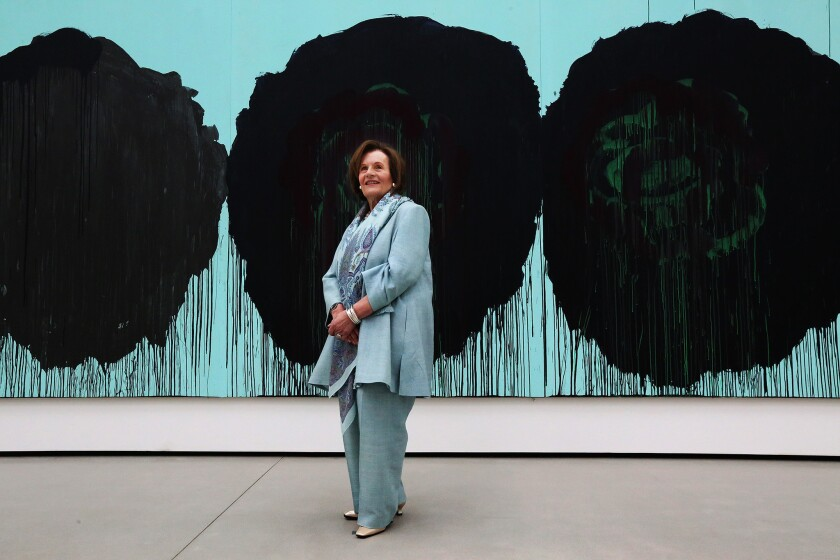 """Edye Broad at the Broad museum with a Cy Twombly painting titled """"The Rose (V), 2008,"""" part of her and her husband Eli's collection."""
