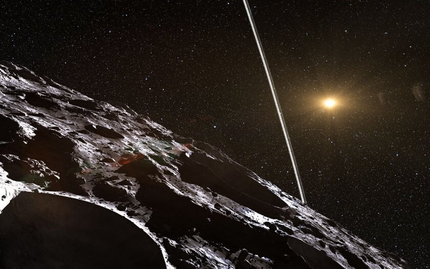 An artist's impression of the rings around the centaur Chariklo. Astronomers recently announced that a second centaur, Chiron, may also possess a ring system.