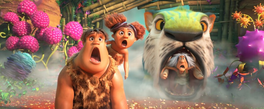 "The Croods — including Thunk, Sandy and Gran — return in ""The Croods: A New Age."""