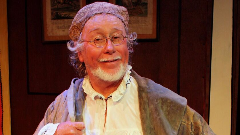"George Weinberg-Harter as Argan in Talent to aMuse's 2012 production of ""The Imaginary Invalid."""