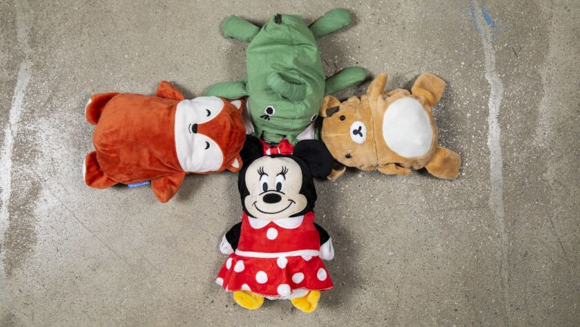 LOS ANGELES, CA --DECEMBER 12, 2018 --A selection of Cubcoats, stuffed animals that can be unfolded