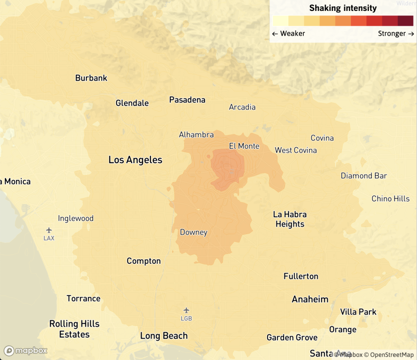 Map shows the location and shaking intensity of a magnitude 4.5 earthquake centered in Rosemead, Calif.