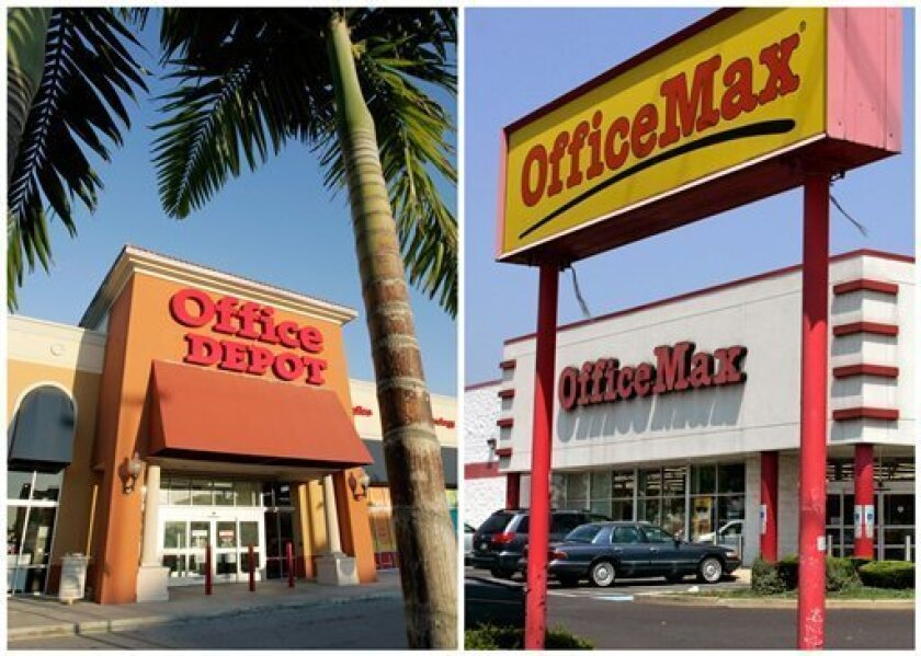 In this combination of Associated Press file photos, an Office Depot is pictured in Miami, left, Wednesday, Feb. 14, 2007, and an OfficeMax store is shown in Philadelphia Wednesday, Aug. 3, 2006, right. Office Depot and OfficeMax announced Wednesday, Feb. 20, 2013, that they are being collated.  Th
