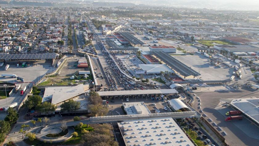 An aerial photo flight of the Otay Mesa Port of Entry for passenger vehicles and pedestrians.