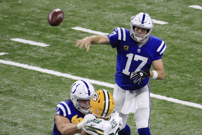 Philip Rivers of the Indianapolis Colts throws a pass against the Green Bay Packers during the third quarter Sunday.