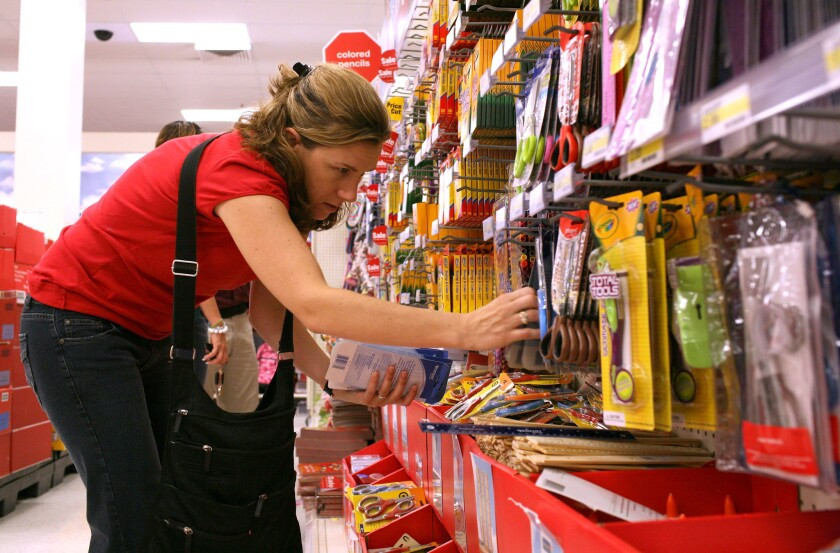 School teacher Liza Gleason shops for school supplies at a Target store Aug. 13, 2008, in Daly City, Calif.