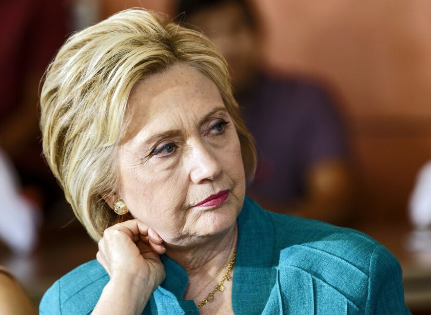 Democratic presidential candidate Hillary Clinton holds a conversation on immigration at Culinary Arts Institute of Los Angeles Mission College on Saturday, June 4, 2016 in Sylmar, Calif. Congressman Xavier Becerra, Mayor Eric Garcetti and California's Senate President pro Tem Kevin de Leon along w