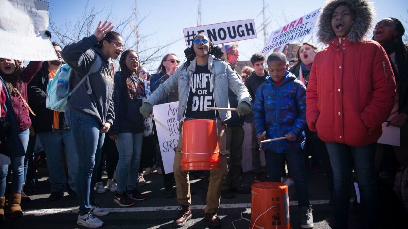 PHILADELPHIA: Students and supporters take part in the March for Our Lives, held in solidarity with the larger march in Washington. D.C., organized by survivors of the February shooting at Marjory Stoneman Douglas High School in Parkland, Fla.