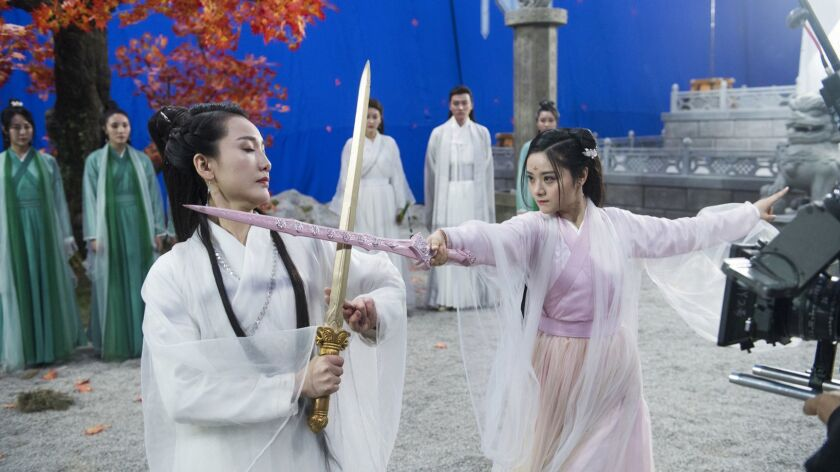 """Wan Er, left, in a scene from """"Resist Loving the Imperial Concubine 2: The Peerless Yan Shi."""""""