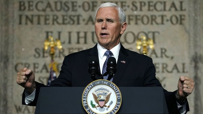 Vice President Mike Pence speaks at the Oct. 23 meeting of the National Space Council in Washington.
