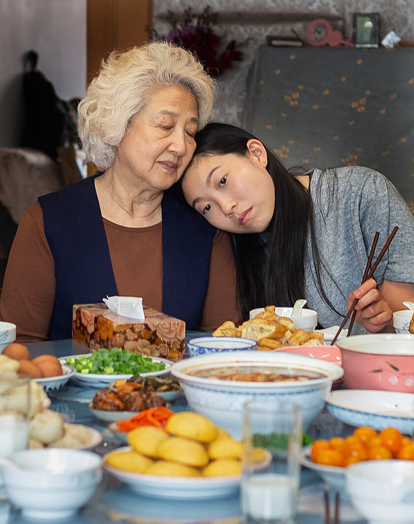 """Awkwafina, right, and Zhao Shuzhen in a scene from Lulu Wang's """"The Farewell."""""""