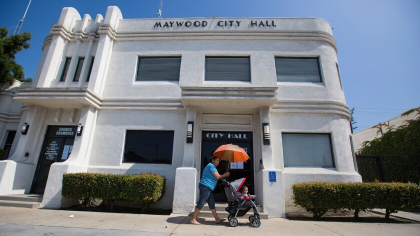 Maywood City Hall in May