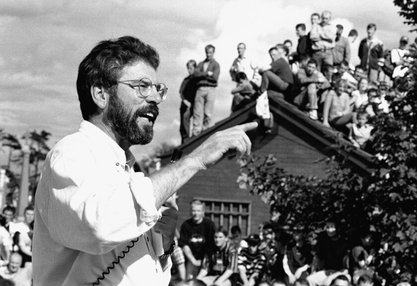 """A photograph of Gerry Adams, politician, featured in the book """"Say Nothing: A True Story of Murder a"""