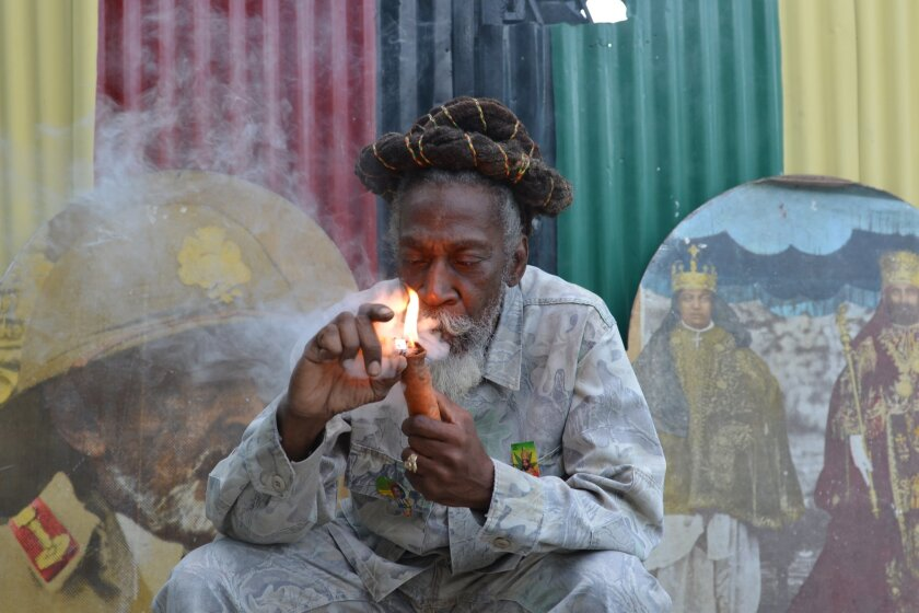 """FILE - In this Aug. 28, 2014 file photo, legalization advocate and reggae legend Bunny Wailer smokes a pipe stuffed with marijuana during a """"reasoning"""" session in a yard in Kingston, Jamaica. Jamaica lawmakers on Tuesday, Feb. 24, 2015, passed an act to decriminalize small amounts of pot and establish a licensing agency to regulate a lawful medical marijuana industry on the island. (AP Photo/David McFadden, File)"""