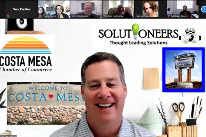 """Jim Fitzpatrick, Costa Mesa Chamber of Commerce's Cannabis Task Force Chair, in a virtual """"Cannabis Kickoff"""" Wednesday."""