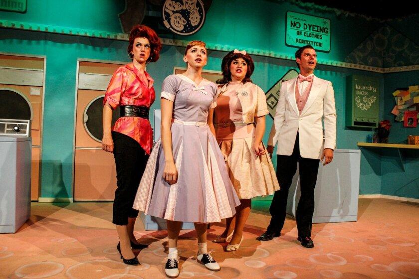 "Rae K. Henderson, Sarah Errington, Bethany Slomka and Tyler Ruebensaal in ""Suds, The Musical"" at New Village Arts Theatre in Carlsbad."