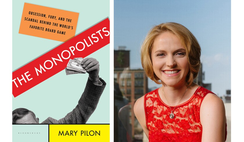 """Mary Pilon and the cover of the book """"The Monopolists"""""""