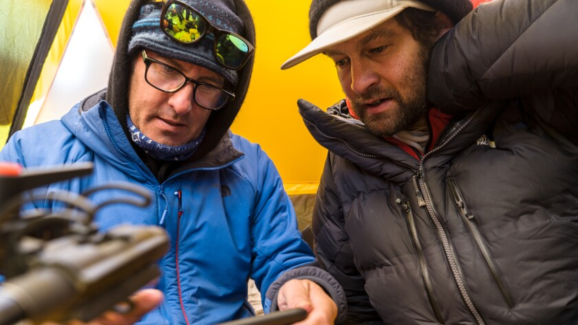 "Mark Synnott, left, and Renan Ozturk in ""Lost on Everest"" on National Geographic."