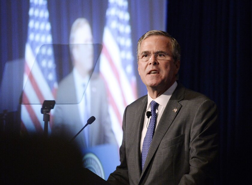 """Republican presidential candidate Jeb Bush speaks at the Reagan Presidential Library in Simi Valley, Calif., Tuesday, Aug. 11, 2015. The former Florida governor said the U.S. may need to send more ground troops into Iraq to defeat Islamic State militants, but he stopped short of saying how many as he outlined his strategy for combating a threat that's """"spreading like a pandemic."""" (AP Photo/Kevork Djansezian)"""