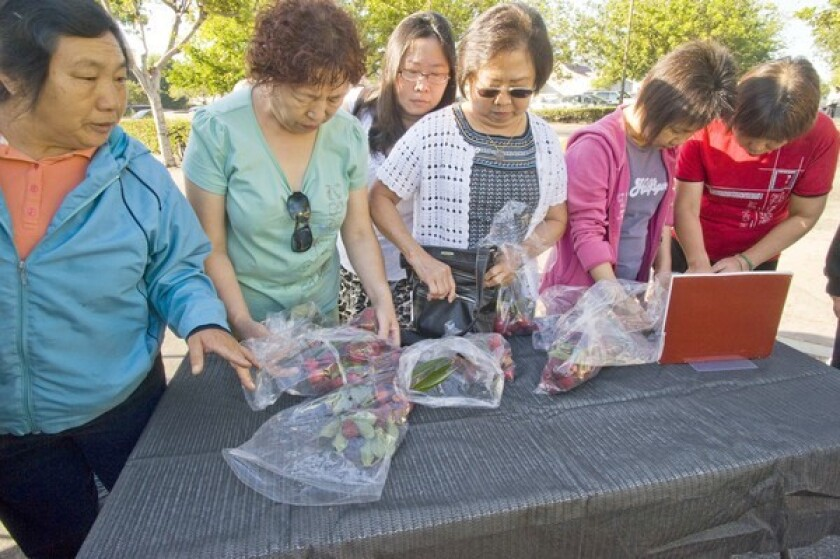Customers eagerly buy Brewster (Chen Purple) lychees grown by Jerry Dimitman in the San Gabriel Valley, at the Alhambra farmers market.