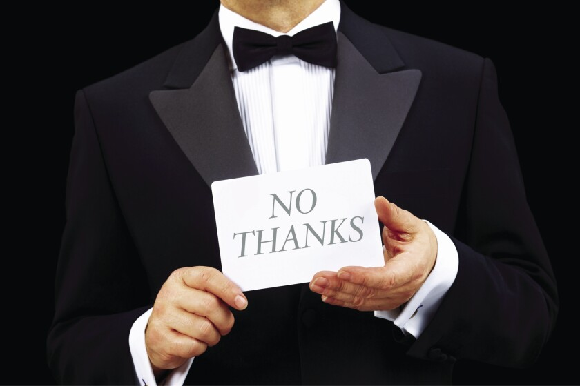 "Keep it simple: ""Thank you for the invitation. I'm so sorry, but I can't make it."""
