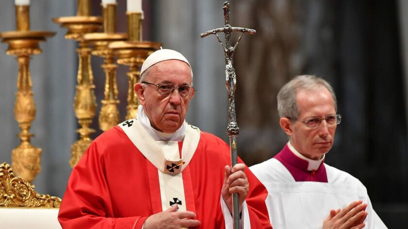 Pope Francis leads a Pentecost Mass at St. Peter's Basilica in the Vatican on May 20, 2018.