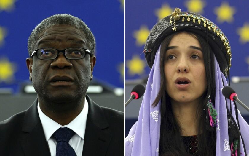 Nobel Peace Prize recipients (left) Dr. Denis Mukwege and Nadia Murad.