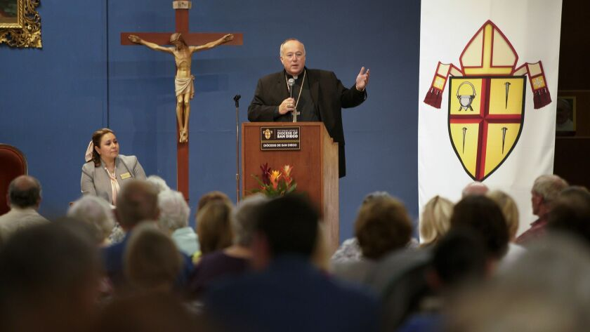 Catholic Bishop Robert Walter McElroy speaks with the congregation at Our Mother of Confidence in University City.