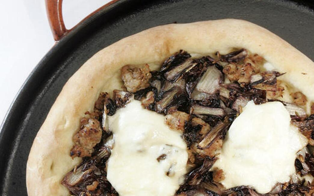 Sausage, radicchio and burrata pizza
