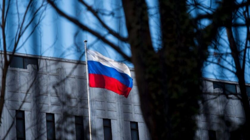 A view of the Russian Embassy December 29, 2016 in Washington, DC. The US fired back at Moscow for meddling in the presidential election, imposing tough sanctions on Russia's top two intelligence agencies, expelling 35 agents and shutting down two Russian compounds on US soil.
