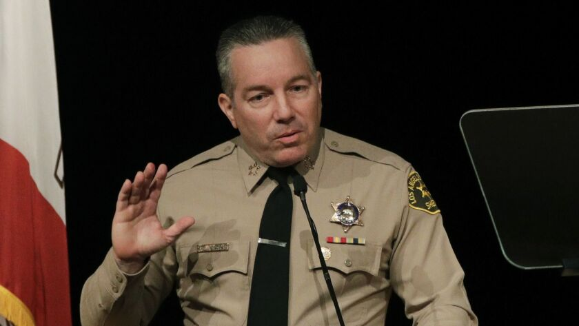 Los Angeles County Sheriff Alex Villanueva speaks during his swearing-in ceremony in December.
