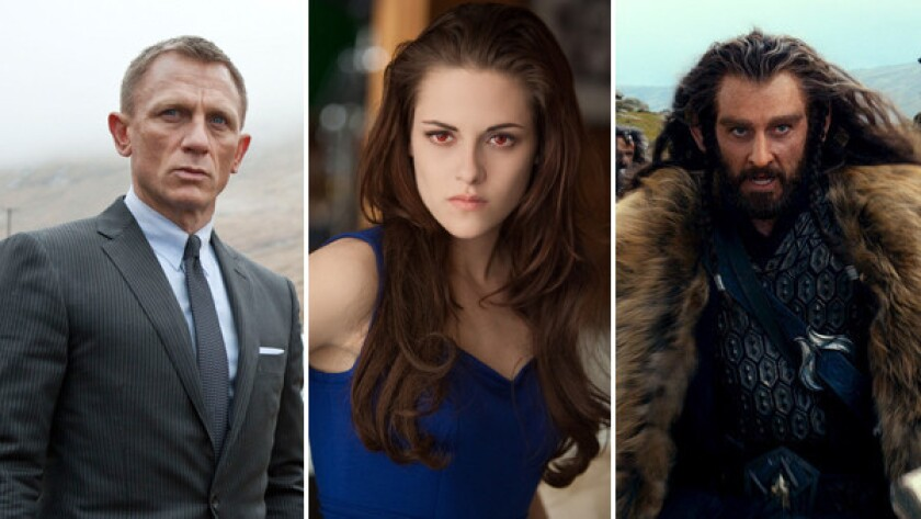 """From left to right, Daniel Craig in """"Skyfall,"""" Kristen Stewart in """"The Twilight Saga: Breaking Dawn - Part 2"""" and Richard Armitage in """"The Hobbit"""" An Unexpected Journey."""""""