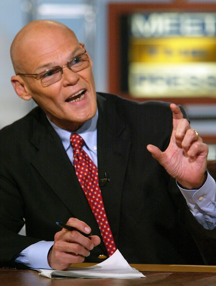 """Democratic strategist James Carville during a taping of NBC's """"Meet the Press"""" in Washington."""