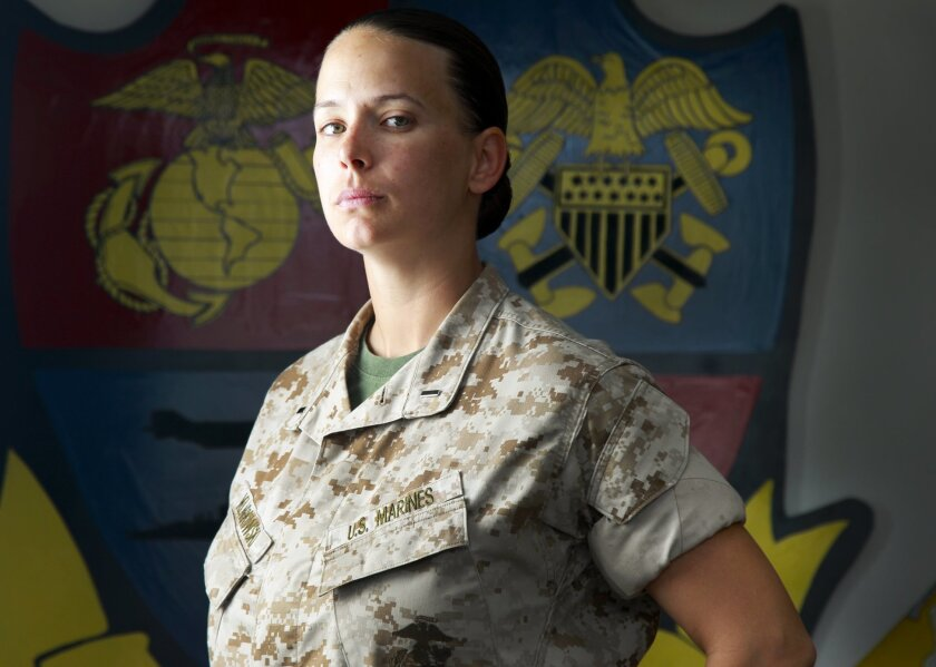 Marine Corps 1st Lt. Alice Klarkowski is the first woman on the staff of the 1st Air Naval Gunfire Liaison Company (ANGLICO) at Camp Pendleton.