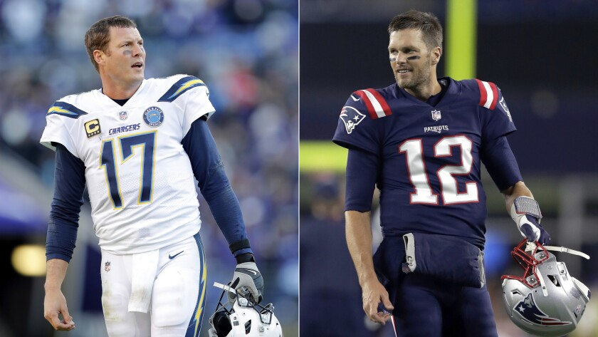 FILE - At left, in a Jan. 6, 2019, file photo, Los Angeles Chargers quarterback Philip Rivers stands