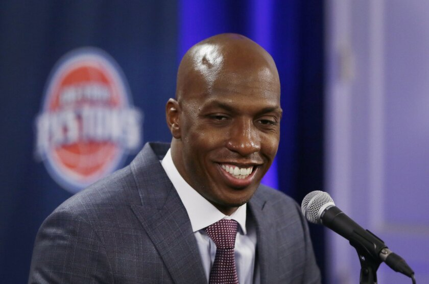 Former Detroit Pistons player Chauncey Billups addresses the media before the NBA basketball game against the Denver Nuggets, Wednesday, Feb. 10, 2016 in Auburn Hills, Mich. The Pistons are scheduled to retire his jersey during a halftime ceremony. (AP Photo/Carlos Osorio)